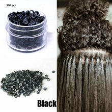500 Pcs 3.0mm Silicone Nano Rings For I Tip Hair Copper With Silicone Lined Beads Rings Hair Extension Tools For Black Women(China)