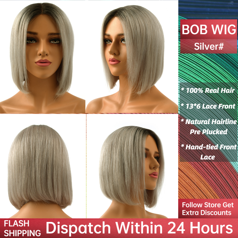 Neitsi Silver Pre Plucked Short Remy Human Hair Wig Natural Hairline Handtied Half Lace Bob Wigs 10
