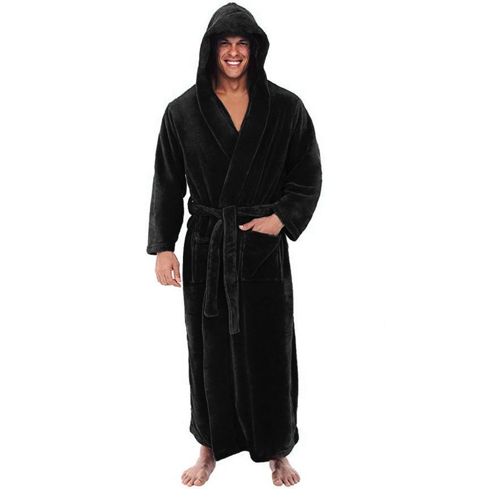 Plus Size Men's Bathrobe Winter Lengthened Plush Shawl Clothes Male Solid Color Long Sleeved Robe Coat With Hooded For Homewear