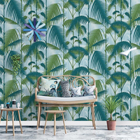 Nordic waterproof PVC wallpaper Southeast Asia style green plant rainforest wallpaper bedroom living room background wall paper
