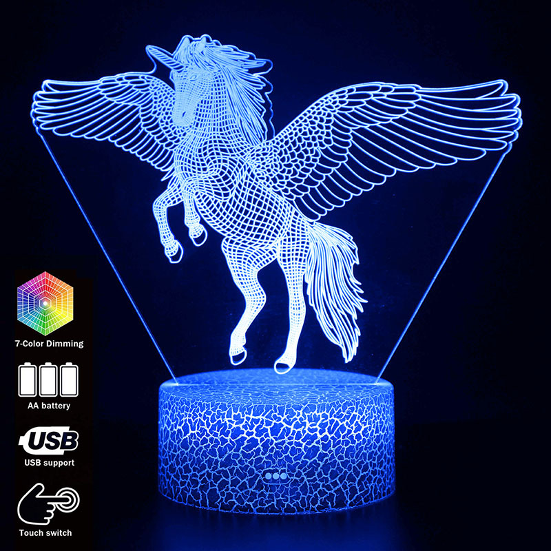 3D Illusion Unicorn Table Lamp Touch LED Night Light Home Room Rainbow Horse Lampen Decor Lighting Creative Lamp For Gift MY1166