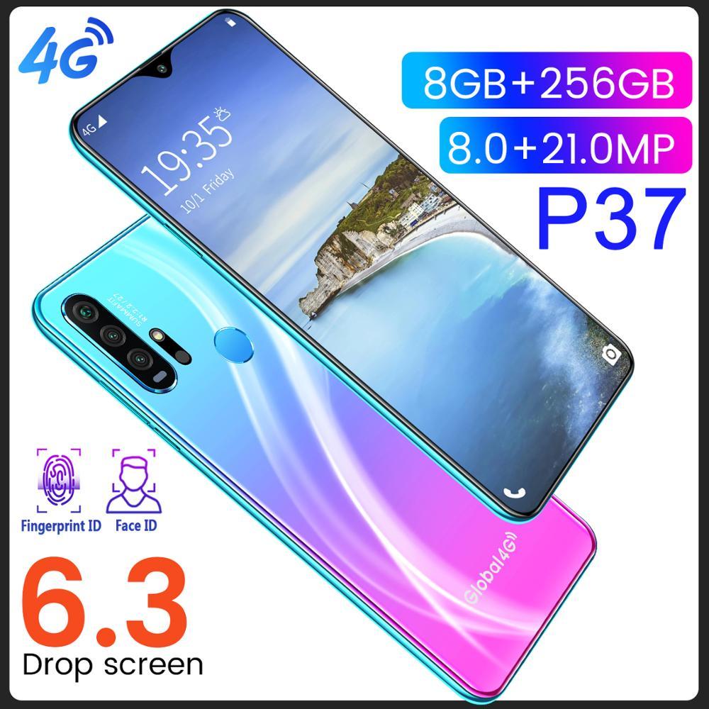 Entsperrt 4G Smart Mobile Handy P37 Max Smartphone Vollbild 10-Core 256 GB Android 9 Finger Gesicht ID Dual Kamera