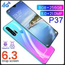 Entsperrt 4G Smart Mobile Handy P37 Max Smartphone Vollbild 10-Core 256 GB Android 9 Finger Gesicht ID Dual Kamera