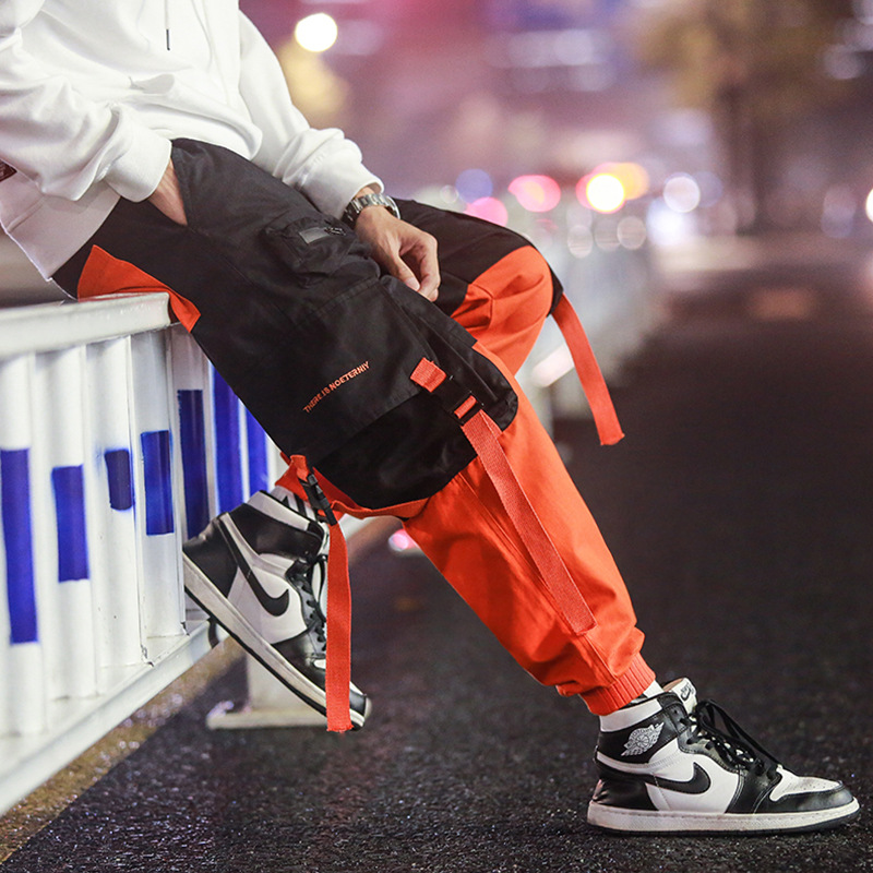 Patchwork Casual Cargo Pants Sweatpants Trousers Men Work Long Sweat Male Loose Pockets Blue Pants Fashion Hip Hop Parkour Pants