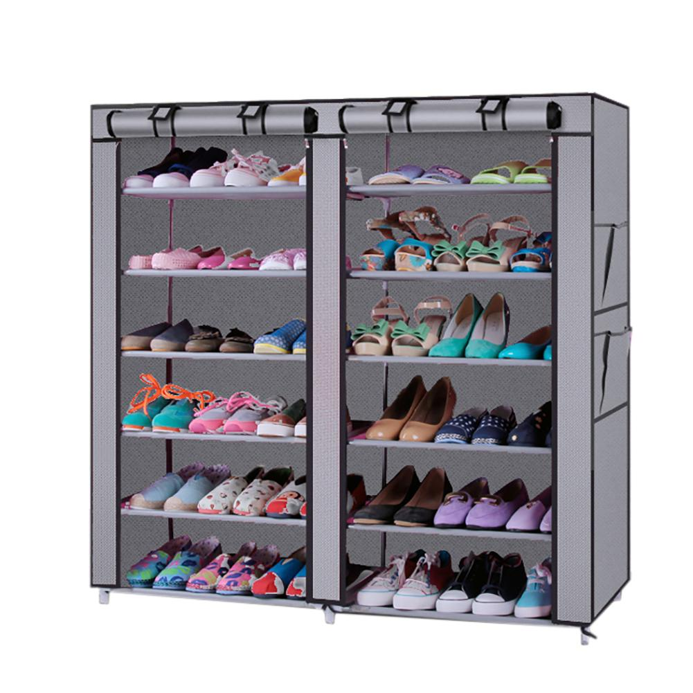 Gray Household Six Row Two Line Twelve Lattices Non-Woven Fabric Shoe Rack  Shoes Storage Home Shoes Rack Holder Shelf Cabinet