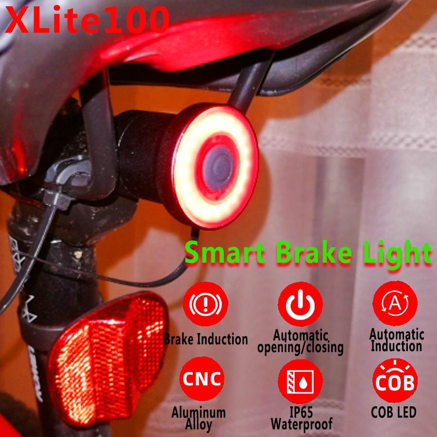 xlite100 Waterproof Bicycle Smart Brake Sensor LED USB Tail Light Rear Lamp New