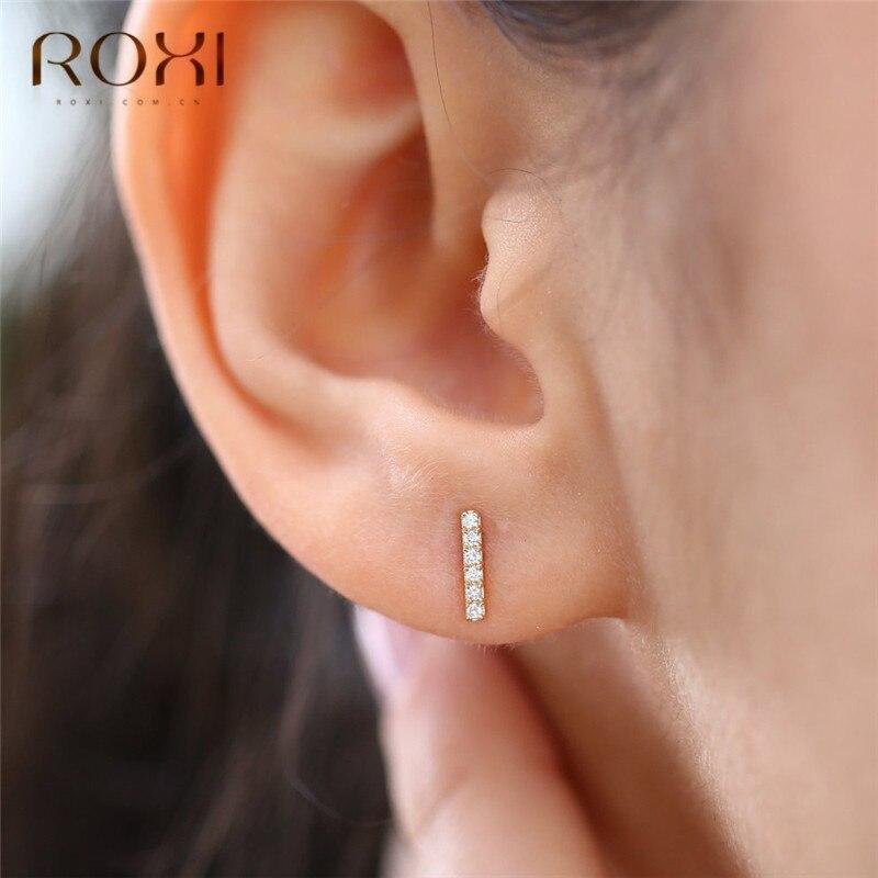 ROXI Minimalist Flat Bar Stud Earrings For Women Geometric T Bar Zircon Birthstone Double Ear Studs 925 Sterling Silver Earrings