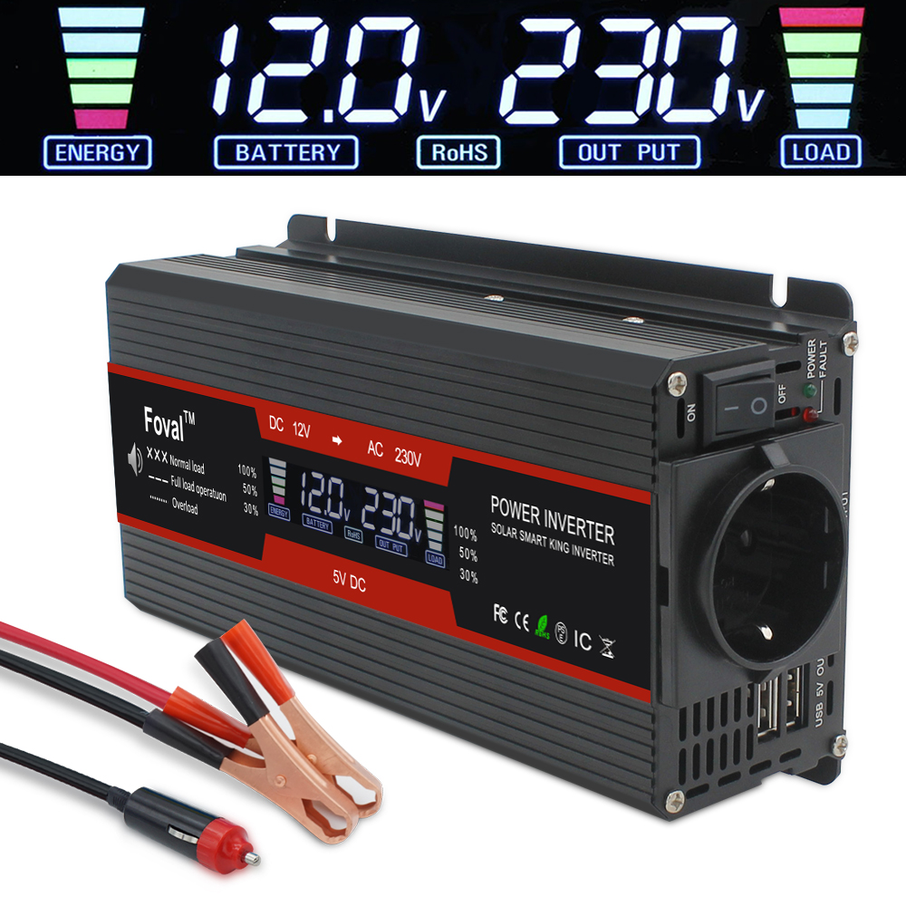5000W Power Inverter Modified Sine Wave LCD Display DC 12V To AC 220V Solar 2 USB Car Transformer Convert EU Socket