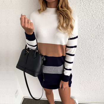 Patchwork Long Sleeve Turtleneck Sweater Dress Women Warm Mini Bodycon Ladies Stripe Sexy Casual Knitted Dresses Best Women Dresses