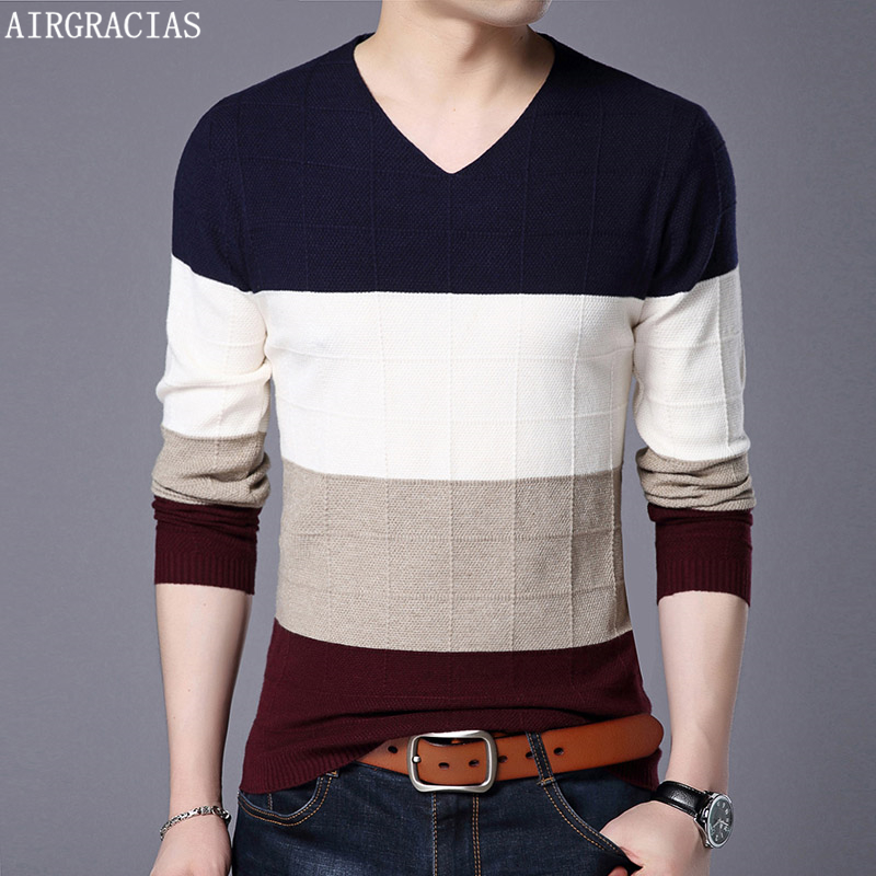 AIRGRACIAS Brand Casual Sweater Men O-Neck Slim Fit Long Sleeve Patchwork Color Male Pollover Clothes agasalho masc