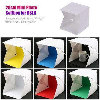 24*23cm Mini składane zdjęcie z kamery Studio miękkie pudełko wbudowane oświetlenie fotograficzne LED namiot Softbox Light Room Tabletop strzelanie tanie i dobre opinie ALLOYSEED 240*240*220mm Pakiet 1 plastic