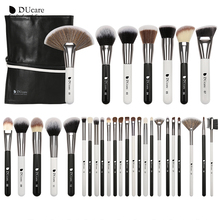 DUcare 31PCS Makeup Brushes with Bag Black/White Natural goat hair Brush Foundation Powder Concealer Contour Eyes Blending