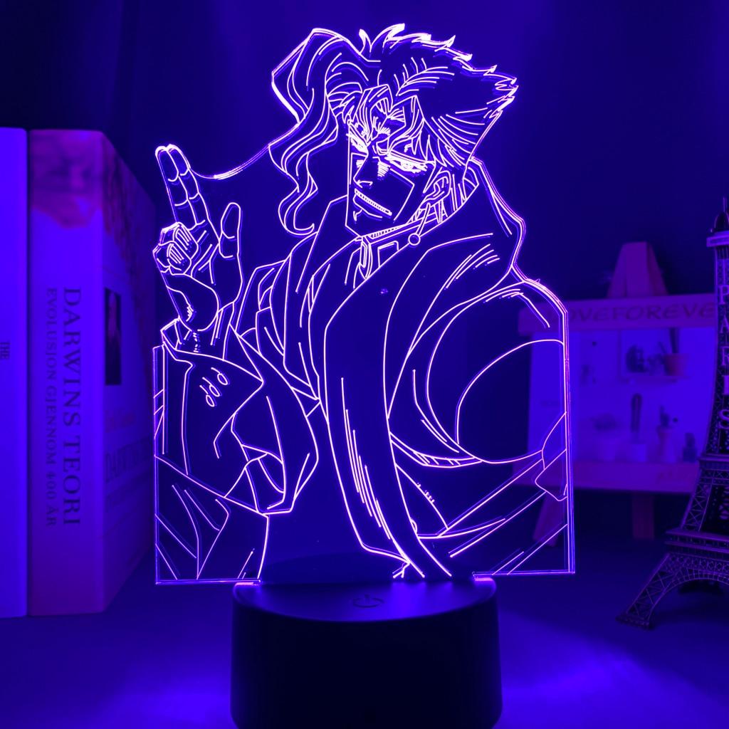 H6c3db367150c4f40a24bbdbcea90f2a9h Luminária Jojo's Bizarre Adventure noriaki kakyoin 3d luz anime para decoração do quarto luz presente de aniversário manga jojo figura acrílico noite lâmpada