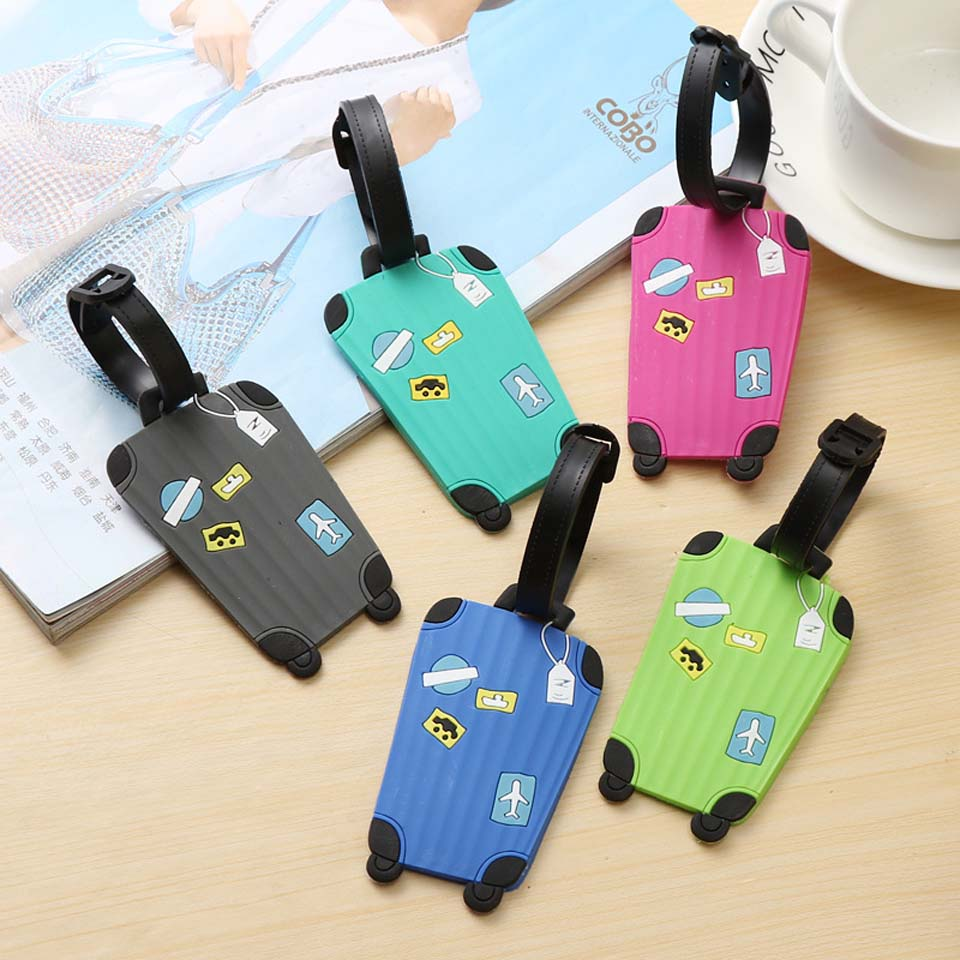 Hot Sale 1pc New Suitcase Cartoon Luggage Tags Design ID Tag Address Holder Identifier Label Travel Accessories