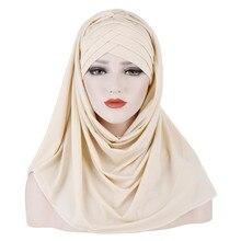Многоцветный мягкий хлопок мусульманский платок мгновенный хиджаб из Джерси полное покрытие кепки обертывание шарф Исламские шали женские тюрбан головные уборы шарфы
