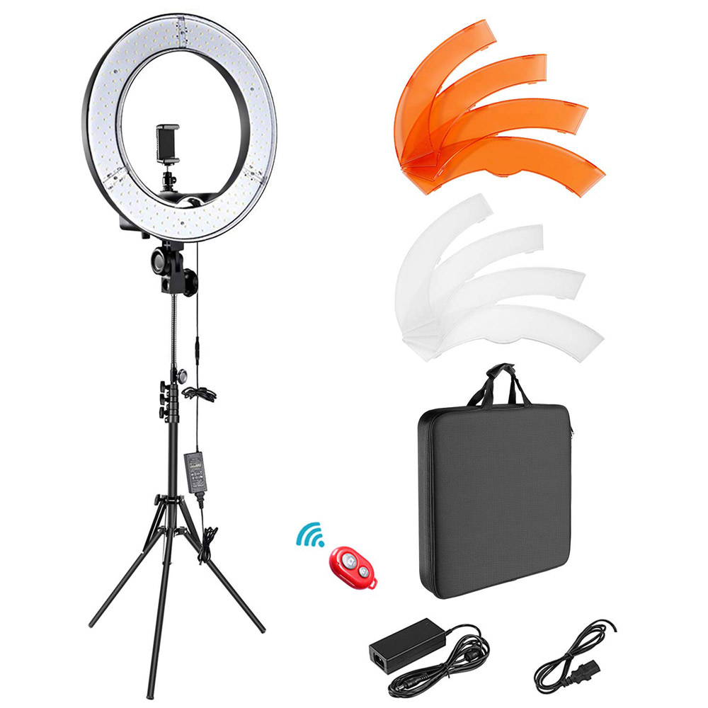 LED Ring Light 18 Inch 5600K Dimmable Beauty Lamp Photographic Lighting for Camera Smartphone YouTube Self-Portrait Shooting image