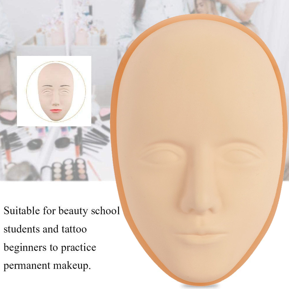 Tattoo Practice Skin Face Tattooing Training Skin 5D Facial Silicone Mannequin Eyebrow Lip Tattoo Skin Doll Head for Beginner