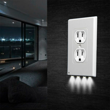 1Pcs Durable Convenient Outlet Cover Duplex Wall Plate Led Night Light Cover Ambient Light Sensor Hallway Bedroom Outlet Cover