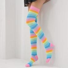 Regenboog Kleur Vrouwen Sokken En Najaar Pinkycolor Medium Effen Streep Zeven Kleur Voor Mode Meisje Kousen Over De Knie