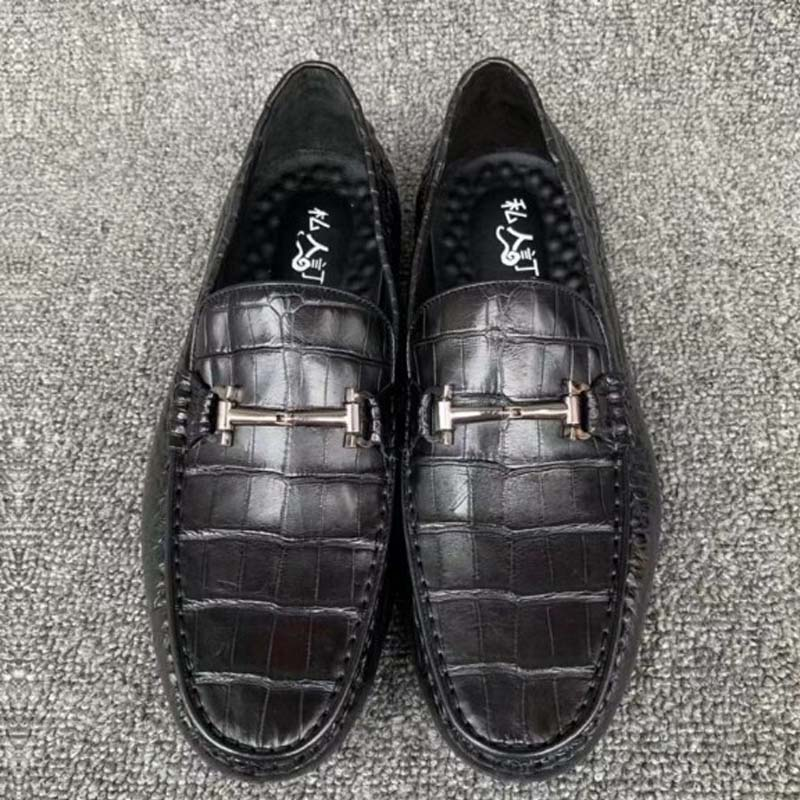 fanzunxing Crocodile leather shoes men's autumn and winter British casual shoes crocodile leather lazy bean shoes men  shoes