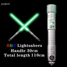 Sabre de luz rgb sabre de luz brilhante efeito de som metal laser espada sabre de luz com som lgtoy cosplay sabre de luz
