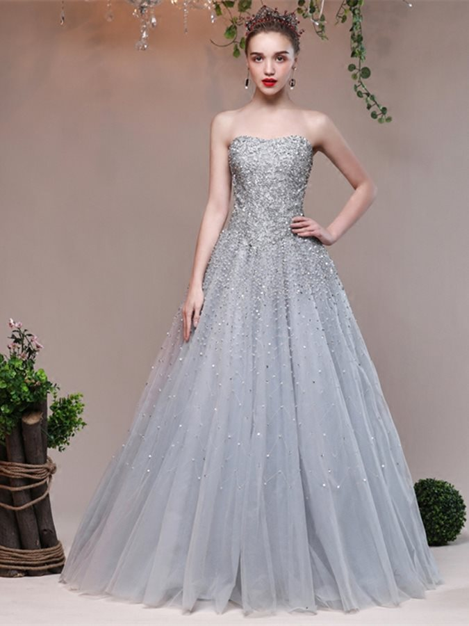Attractive A-Line Sweetheart Beading Sleeveless Beading   Prom     Dresses   2019   Prom     Dress   Silver Evening Party Gowns robe de soriee