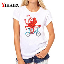 Women T-shirt 3D Print Funny Animal Octopus Graphic Tee Casual Lady Summer White T shirts Short Sleeve Unisex Tops short sleeve octopus tentacles print tee
