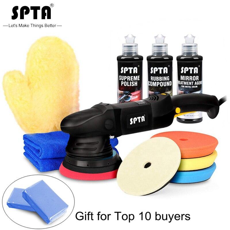 SPTA 5inches 15mm Dual Action Polishing Machine 220v Home DIY Car Polisher With Polishing Pad Rubbing Compound Polishing Paste