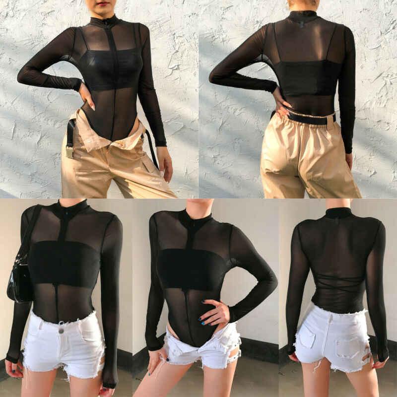 ใหม่ผู้หญิงเซ็กซี่ดูผ่าน Catsuit Jumpsuit ซิปแขนยาว SHEER ยืด Body Bodysuit Leotard Romper Tops
