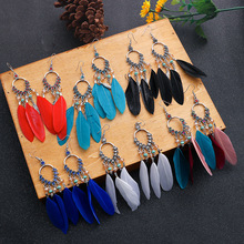 Bohemian Tassel Dangle Feather Earrings For Women Ethnic Style Vintage Earrings 2020 Fashion Jewelry Boho Pendientes bohemian rainbow colors feather tassel earrings 2019 ethnic vintage hollow out beads dangle earrings for women indian jewelry