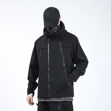 SILENSTORM Techwear Men's Black Softshell Jacket Hip Hop Style Punk Streetwear