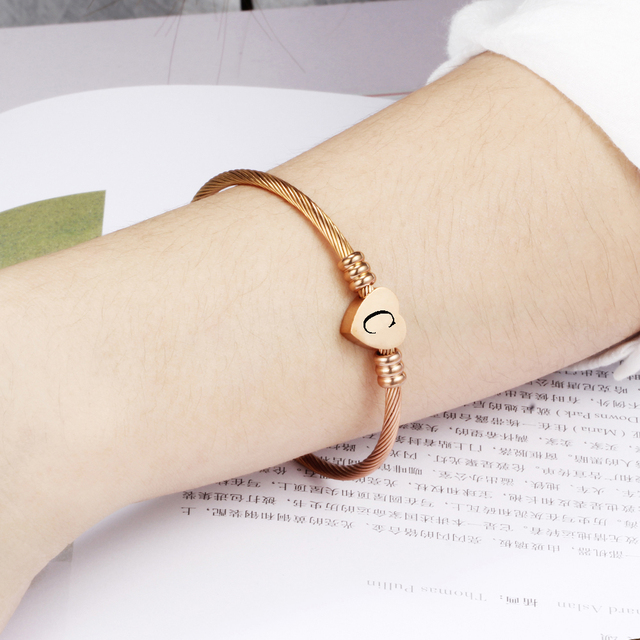 Rose gold Color Stainless Steel Heart Bracelet Bangle With Letter Fashion Initial Alphabet Charms Bracelets For Women 2
