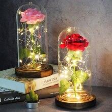 LED la belle et la bête Rose rouge en flacon verre Roses éternelles pour cadeaux de noël décoration de famille cadeau de saint valentin