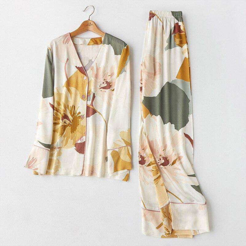 2020 Spring Women's Pajamas Sets With Flower Print Fashion Luxury Female 2 Two Pieces Long Sleeve + Trousers Nighties Sleepwear