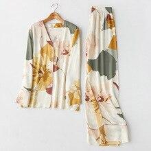 Summer Autum Womens Pajamas Sets with Flower Print Fashion Luxury Female 2 Two Pieces pijamas women Nighties Sleepwear