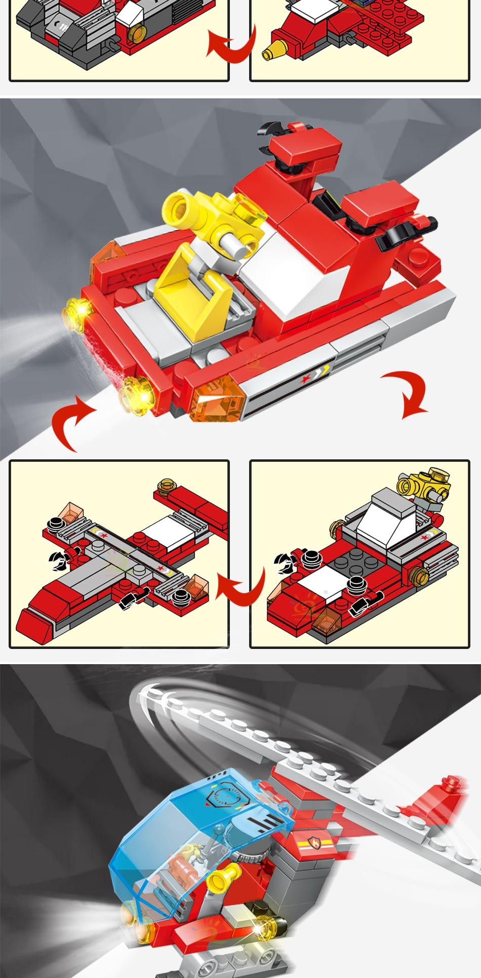 """конструктор huiqibao """"пожарная техника"""", 8 в 1"""