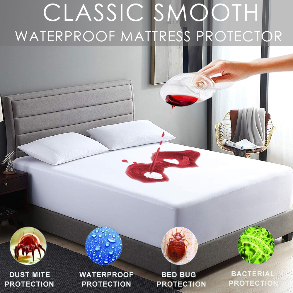 LFH 160X200cm Waterproof and Stain Resistant Mattress Protector Bed Bug Proof Washable Hypoallergenic Mattress Covers(China)