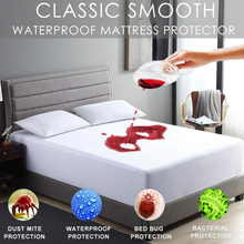 LFH 160X200cm Waterproof and Stain Resistant Mattress Protector Bed Bug Proof Washable Hypoallergenic Mattress Covers cheap Air-Permeable Anti-Bacteria Flame Retardant Anti Dust Mite 200TC Bed Mat Grade A 100 Polyester Plain Dyed 9 to 14 Inches
