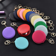 Korean Fashion Makeup Mirror Pu Small round Mirror Keychain Double-Sided Folding Mirror Furry Ball Mirror Pendant
