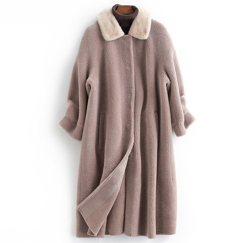Sheep Real Shearling Fur Coat 2020 Winter Jacket Women Mink Fur Collar Korean Long Jackets For Women 100% Wool Coat MY S