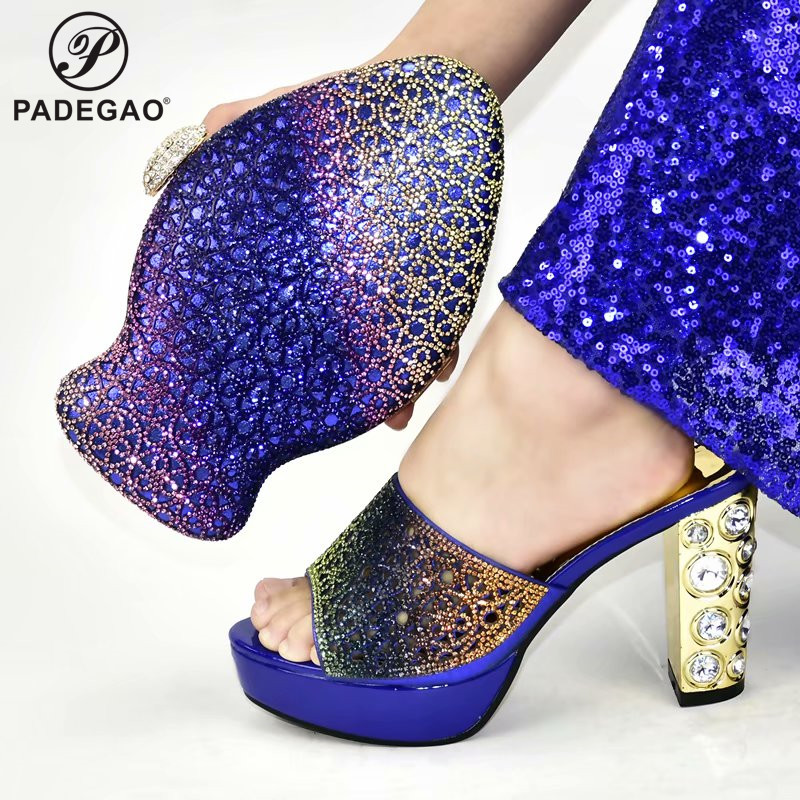 2020 High Quality Color Italian Women Shoes and Bag Set for Wedding Nigerian Matching Lady Shoes and Bag for Party