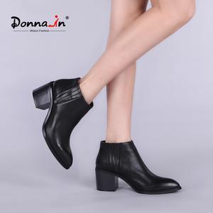 Donna 2016 весенние одиночные ботинки ботильоны на толстом каблуке с острым носком женские короткие ботинки женские кожаные ботинки