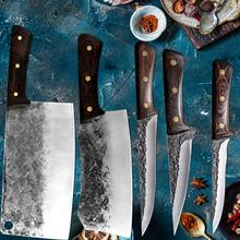 Ręcznie kute nóż rzeźnicki narzędzie szerokie ostrze do krojenia nóż kuchenny chiński tasak Camping serbski szef kuchni nóż z drewnianym uchwytem narzędzie tanie tanio CN (pochodzenie) Ekologiczne Noże Ce ue Lfgb Cleaver Kitchen Chef frozen Santoku Cleaver Cutter Slicing Filleting Steak