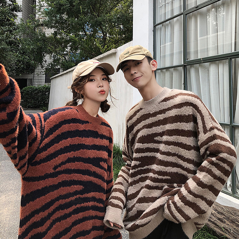 Winter Striped Sweater Men's Warm Fashion Retro Casual Couple Knitted Sweater Man Sweter Clothes Wild Loose Pullover Men