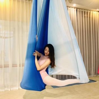Anti-Gravity Multicolour Yoga hammock Flying Swing 5m fabrics Yoga Belts For the yoga Exercise Air Swing Bed Trapeze Yoga studio 1