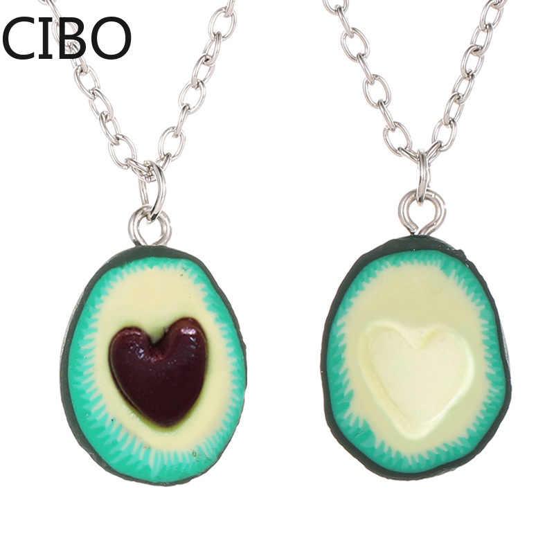 2019 novo abacate coração-em forma de chaveiro moda simulação frutas jóias chaveiros melhor amigo s bff