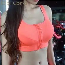 Underwear Tops Padded Yoga-Vest Sports-Bras Gym Push-Up Fitness Zipper Girls Breathable