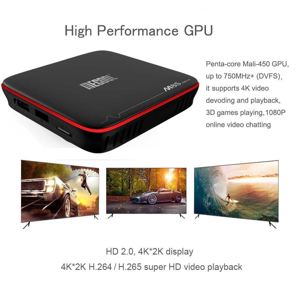 Mecool Set-Top Box M8S Pro W 1GB + 8GB Android 7.1 Smart TV Box S905W Quad core Mendukung 2.4G Nirkabel Wifi Media Kotak