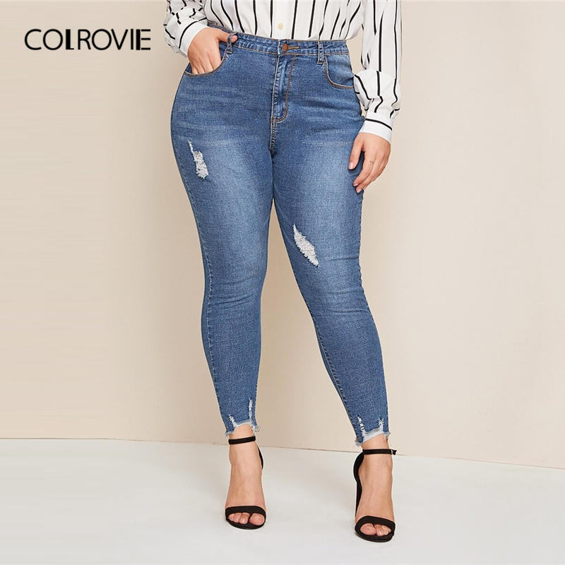 COLROVIE Plus Ripped Frayed Edge Skinny Jeans Women 2019 Autumn Button Fly Blue Jeans Casual Ladies Stretchy Denim Pants
