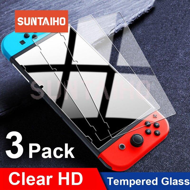 3 pacote de vidro protetor protetor de tela de vidro temperado para nintendos interruptor de vidro ns acessórios filme de tela